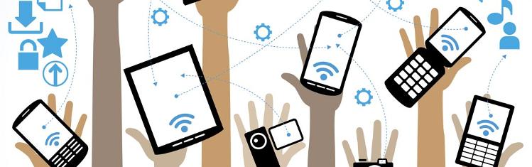 Bilden är en teckning som visar sju händer som sträcks upp med var sin smartphone, kamera eller dator som alla är förbundna med pilar.