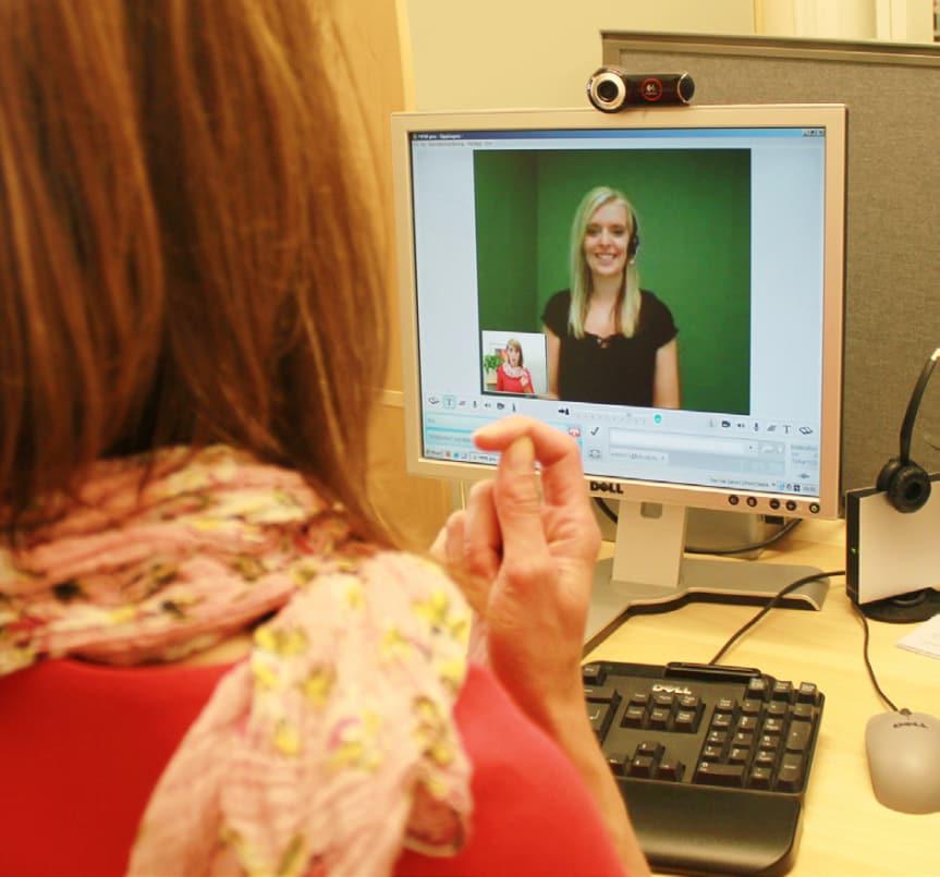 Bilden visar kommunikationen vid bildtelefoni.