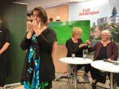 Amanda i blåmönstrad klänning tecknar. Bakom henn syns Linda Eriksson och hennes tolk.