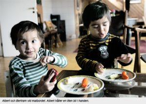 två små pojakr vid ett matbrod med mat på varsin tallrik