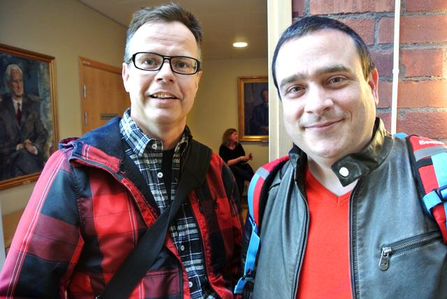 Stefan Löfgren och Georgios Karanis, båda ögonläkare, deltog i seminariet för att lära sig mer om Alströms syndrom.