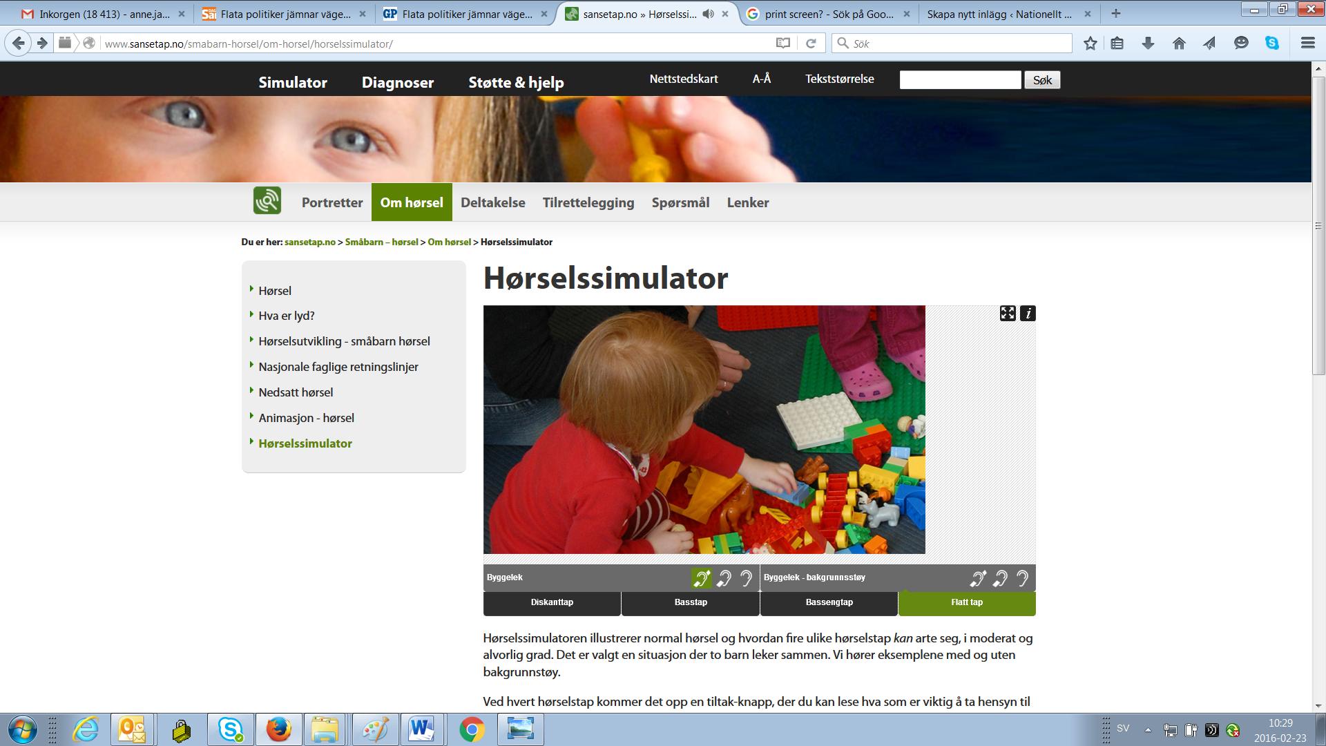 Bild på hemsidan för den norska hörselsimulatorn