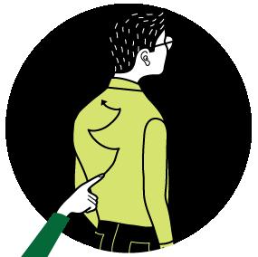 Berusad: Gör en sicksackrörelse nerifrån och upp. Tips! Det är lättare att uppfatta om en kort paus görs vid varje riktningsförändring.