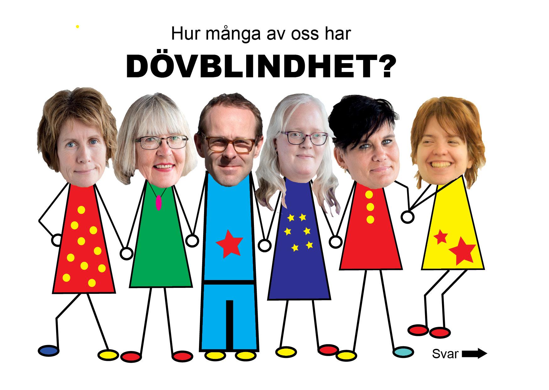 bilder på sex personer och frågan Hur många av oss har dövblindhet