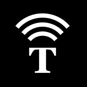 Symbol med ett T med ljudvågor över