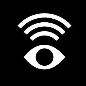 Symbol med ett öga med ljudvågor över