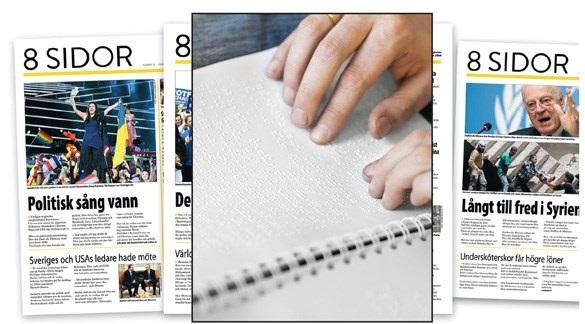 collage 8 sidor som papperstidning och på punktskfirt