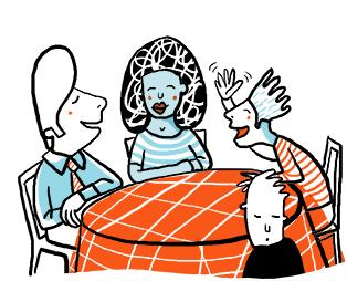 Tre människor sitter runt ett matbord och pratar. Barnet står vid sidan av för att det inte kan följa med i samtalet.