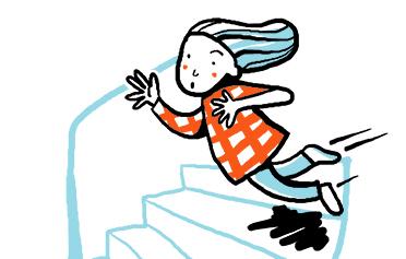 flicka som ramlar nerför en trappa, illustration