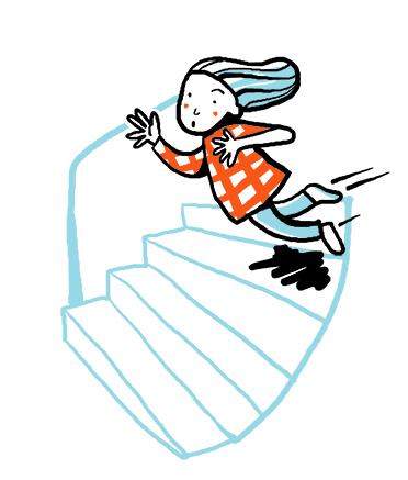 TeTeckning på ett barn som snubblar i trappan. sn