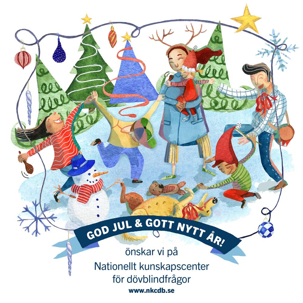 Nkcdb:s julkort som visar barn och vuxna som dansar i en ring.