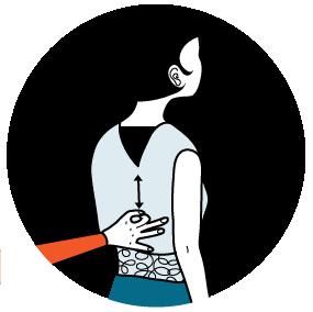 Illustration av signalen för att hicka, alternativ 1