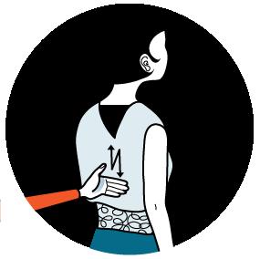 Illustration av signalen för att hicka, alternativ 2