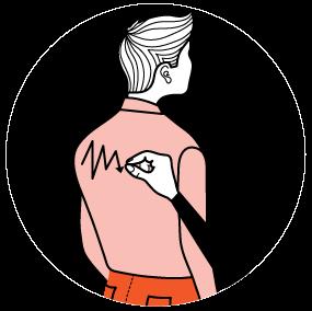 Illustration av signalen för att skriva för hand
