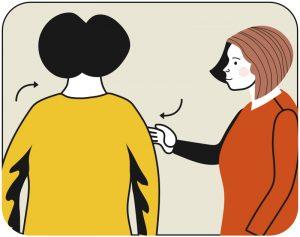 Illustration av signalen för backa och vrid åt höger