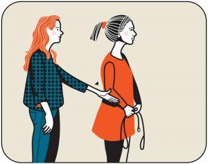 Illustration av signalen för sätt hunden fot, alternativ 2
