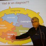 Claes Möller står framför en bild som illustrerar vad som behöver kartläggas för en bra diagnos.