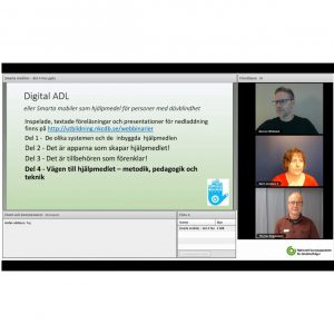 En skärmdump av webbinariet just i början då alla 3 föreläsarna syns.