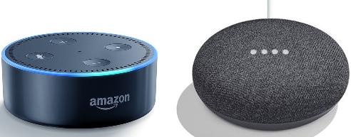 2 smarta högtalare, Amazon Alexa Echo Dot och Google Home Mini