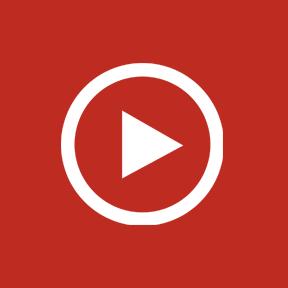 Röd ikon för att spela film, illustration.