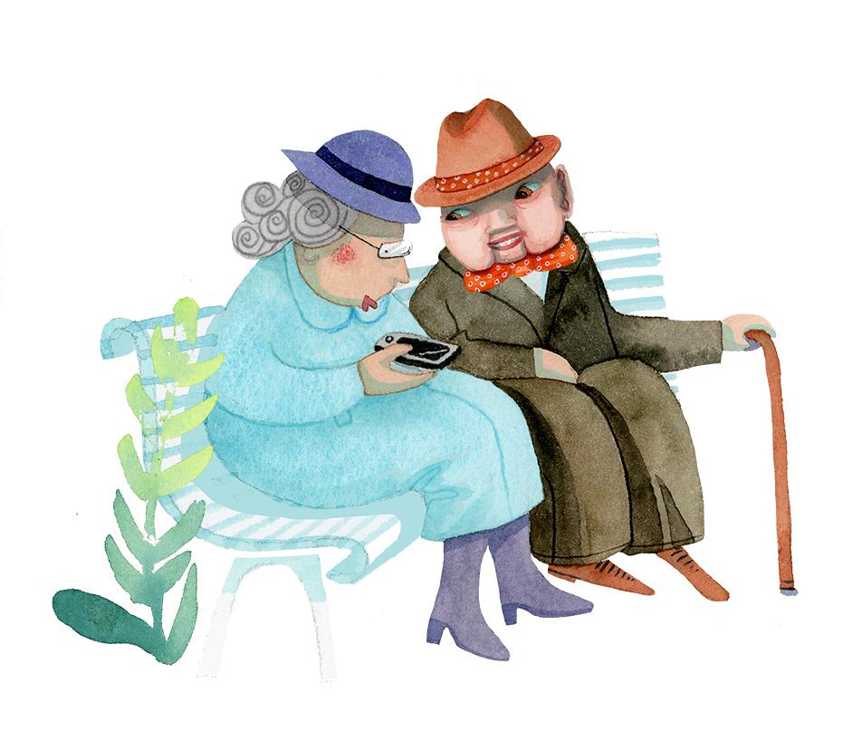 Två äldre sitter på en parkvänk,. Kvinnan har ljusblå kappa och mörkblå hatt. Mannen ljusbrun hatt, fluga och brun rock och en köpp i handen. Kvinnan håller i en mobil.