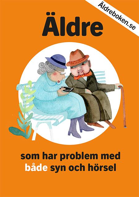 I mitten av det knallorangea omslaget sitter ett äldre par på en parkbänk. Kvinnan har ljusblå kappa och hatt, mannen grågrön rock, rödprickig fluga, hatt och köpp.