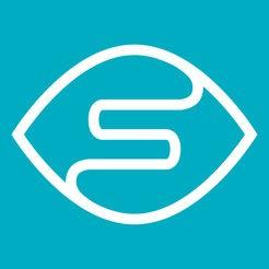 Logo för Seeing AI. En grön bakgrund med ett vitt streck i som ritar ett öga med ett S i.