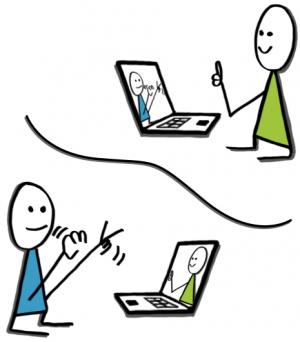 Två streckgubbar som sitter framför varsin dator. Den ena frågar Ok? och den andra svarar Ok!