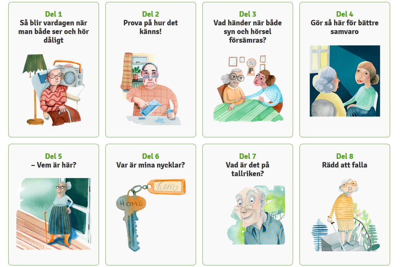 Åtta rutor med tecknade bilder för varje avnitt av äldrekursen