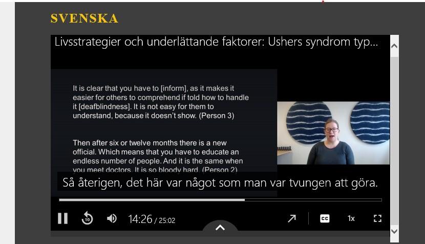 skärmklipp på föreläsningen där man ser Moa föreläsa.