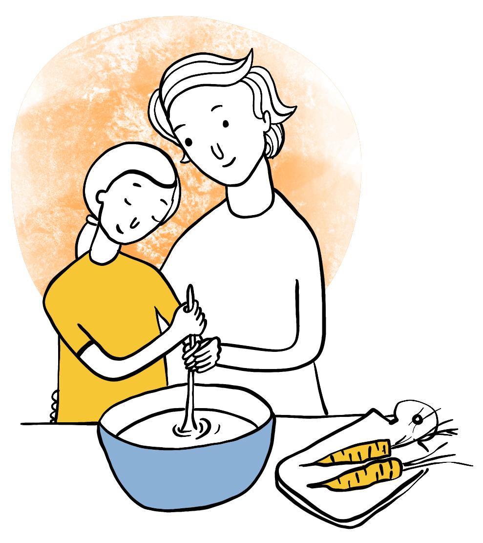 Barnet till vänster och mamman till höger rör i skålen med samma slev. till höger några morötter på en skärbräda