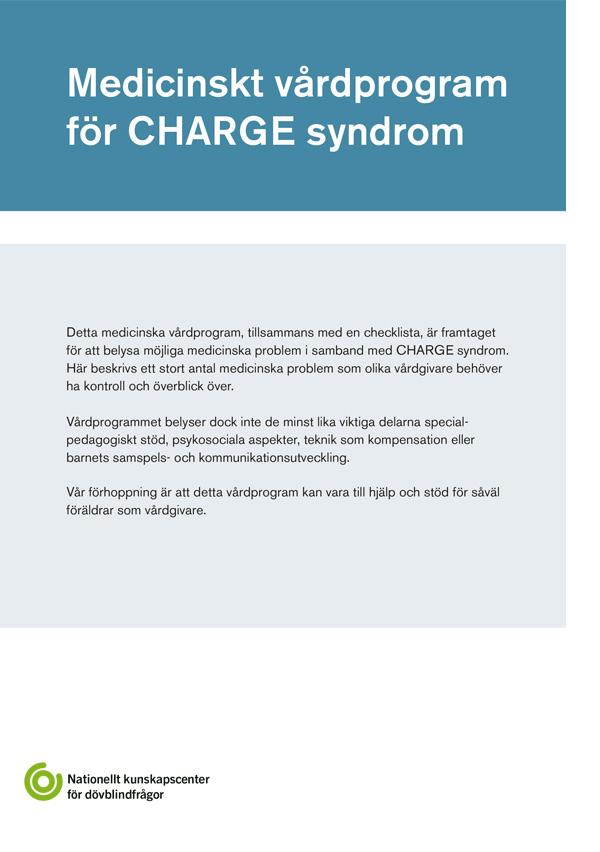 Framsida på publikation vårdprogram CHARGE
