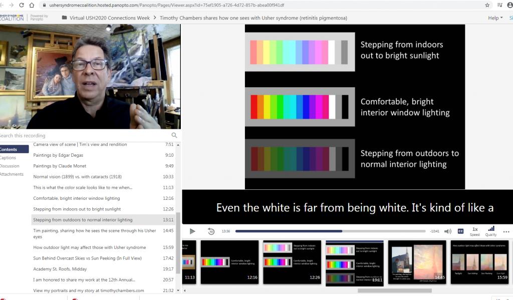 Skärmdump på en bildskärm som visar hur Timothy ser färger. På bilden syns också Timothy själv och hur de digitala presentationerna under Usher Connections Week såg ut.