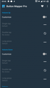 Skärmdump på inställningarna, val som Volume Up Customize, Volume Down Customize mm