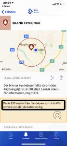 Kartbild från 112-appen som visar information om en plats där det pågår en händelse.