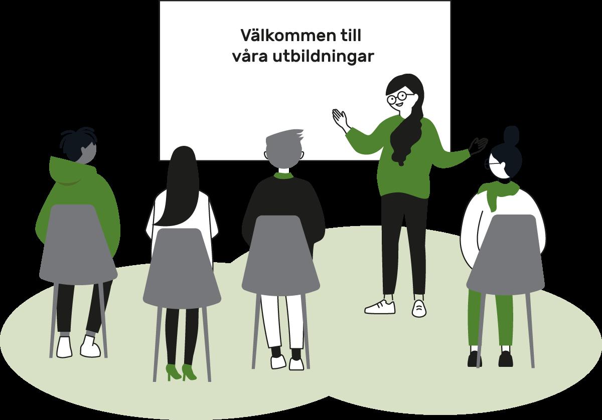 """Fyra åhörare och en föreläsare framför en skrivtavla med texten """"Välkommen till våra utbildningar"""""""