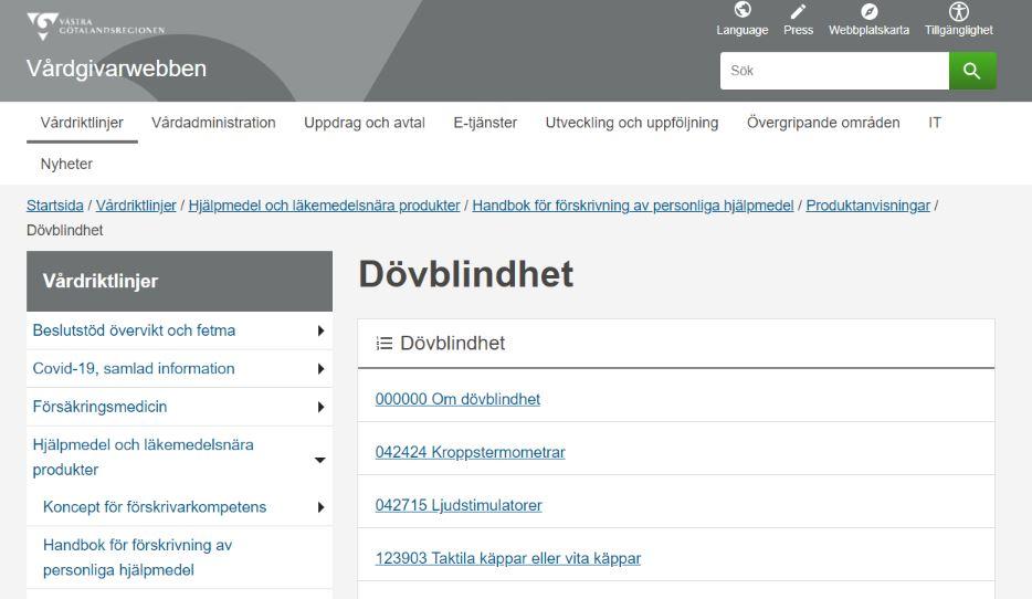 Skärmdump från Vårdgivarwebben i Västra Götalandsregionen