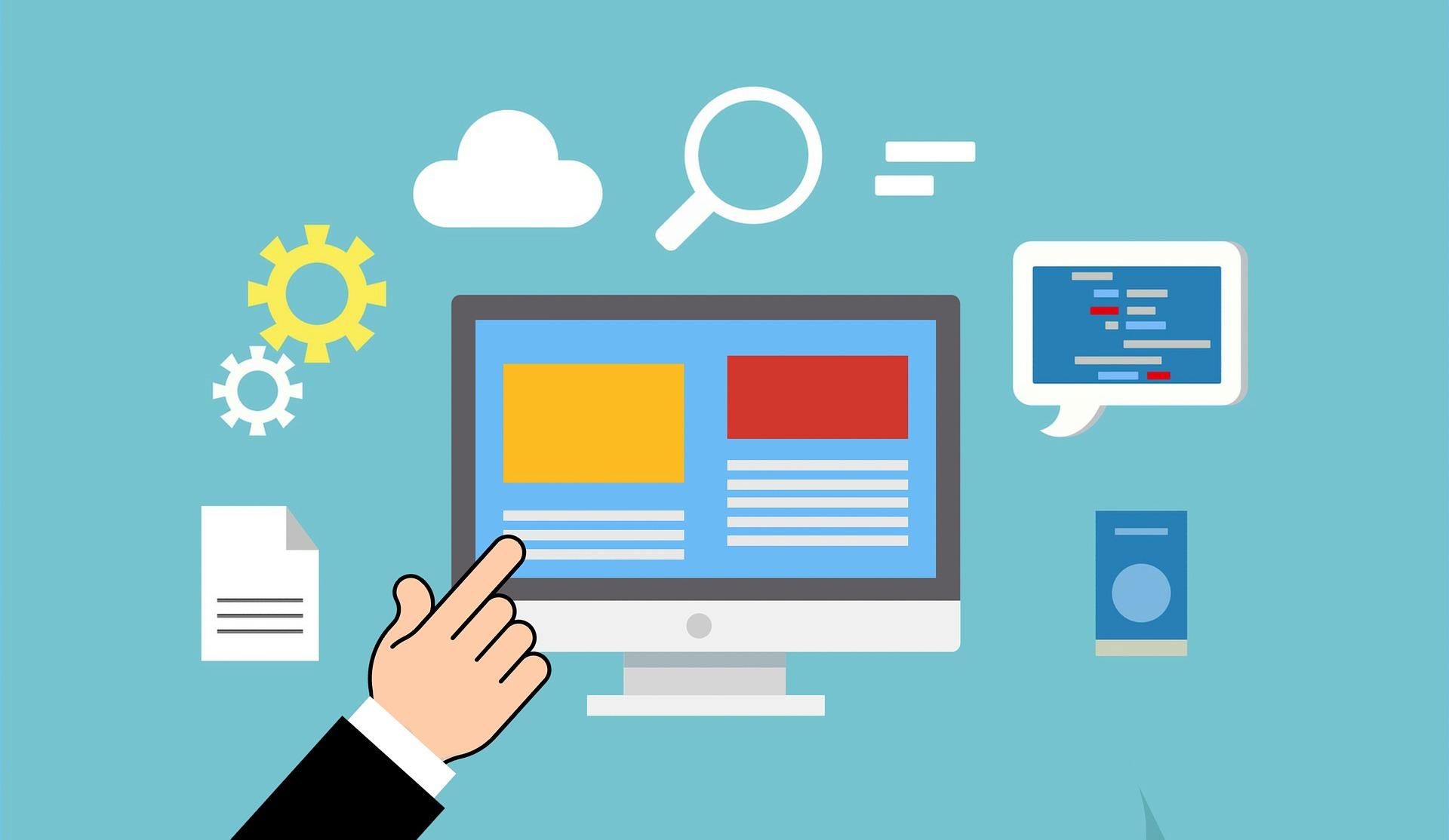 illustration: bildskärm omgiven av en pekande hand och olika symboler för digital teknik