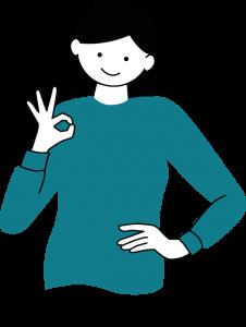 Illustration: kvinna i halvfigur som gör tecknet för perfekt