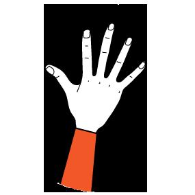 illustration handform för sprethand