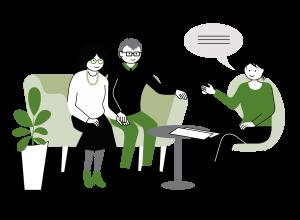 illustration: tre personer som sitter och samtalar med varandra kring ett runt soffbord