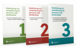 framsidor på tre publikationer som är numrerarde från ett till tre