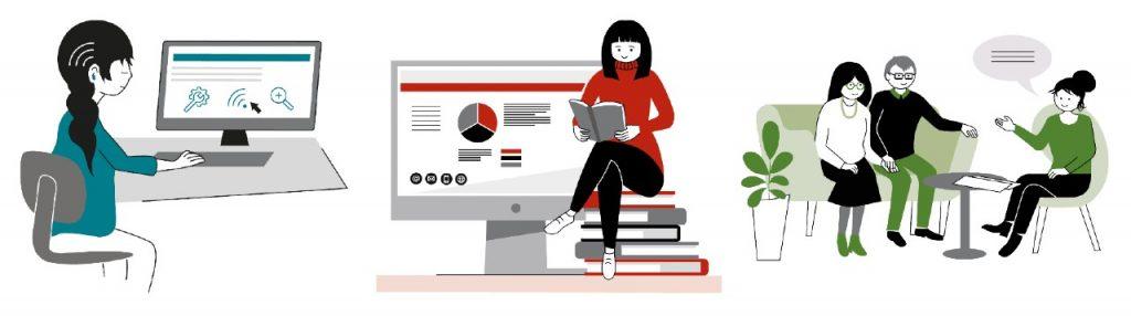 Kollage av tre illustrationer från Nkcdb:s webbplats